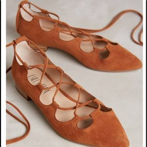 Anthropologie - Billy Ella Lace-Up Flats in tan